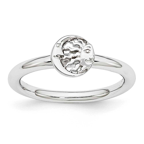 Sterling Silver Stackable Expressions Rhodium Sun Moon Ring