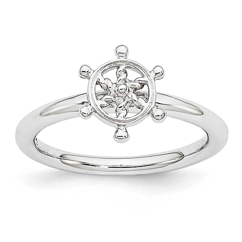 Sterling Silver Stackable Expressions Rhodium Ship's Wheel Ring