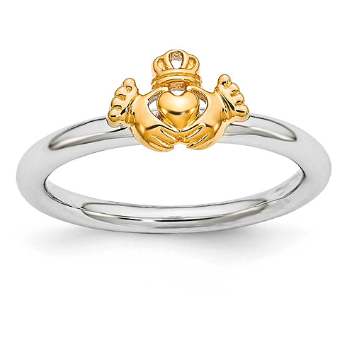 Sterling Silver Stackable Expressions Yellow-plated Claddagh Ring