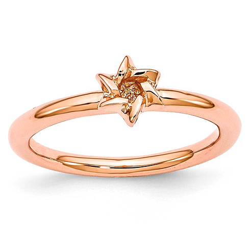 Sterling Silver Stackable Expressions Pink-plated Star of David Ring