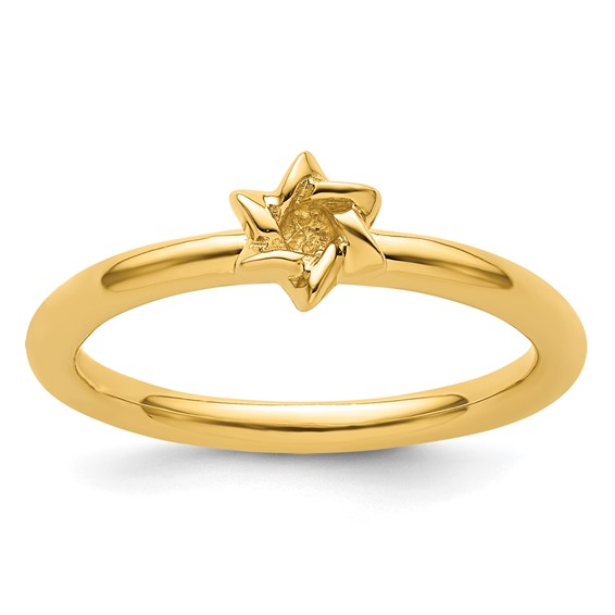 Sterling Silver Stackable Expressions Yellow-plated Star of David Ring