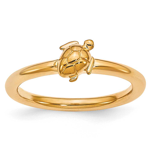 Sterling Silver Stackable Expressions Yellow-plated Turtle Ring