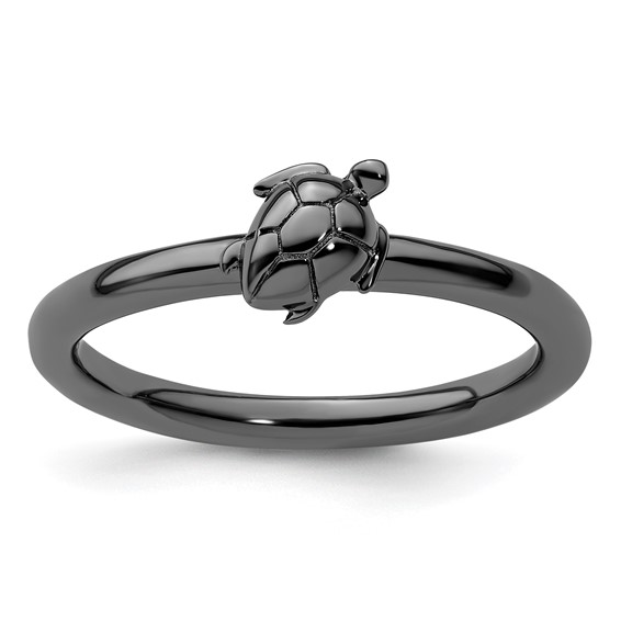 Sterling Silver Stackable Expressions Black-plated Turtle Ring