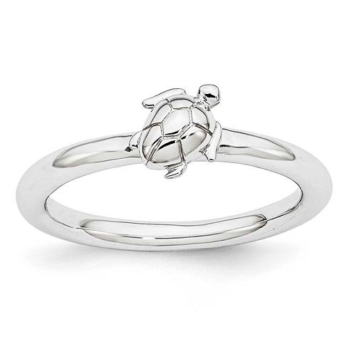 Sterling Silver Stackable Expressions Turtle Ring