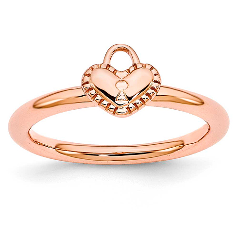 Sterling Silver Stackable Pink-plated Heart Padlock Ring