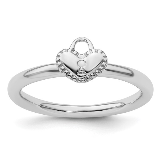 Sterling Silver Stackable Expressions Heart Padlock Ring