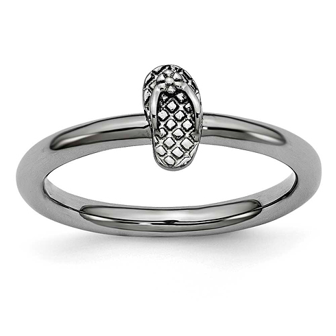 Sterling Silver Stackable Expressions Black-plated Flip Flop Ring