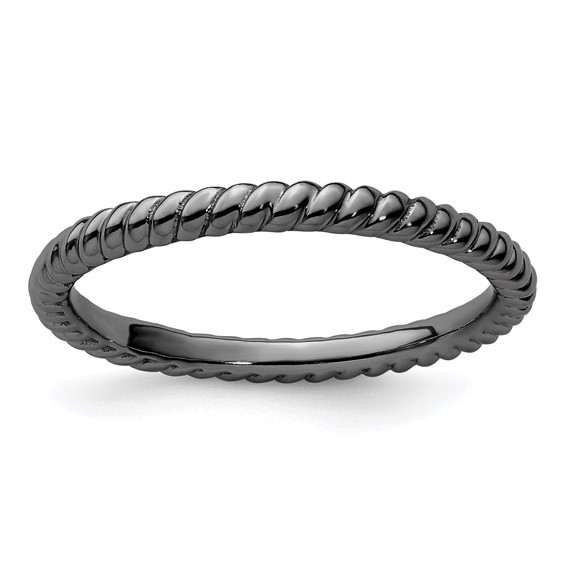Sterling Silver Stackable Expressions 2.25mm Black-plated Twisted Ring