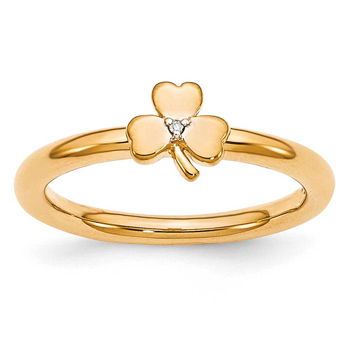 Sterling Silver Stackable Yellow-plated Diamond Clover Ring