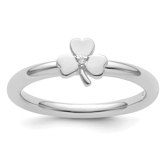 Sterling Silver Stackable Expressions Diamond Clover Ring