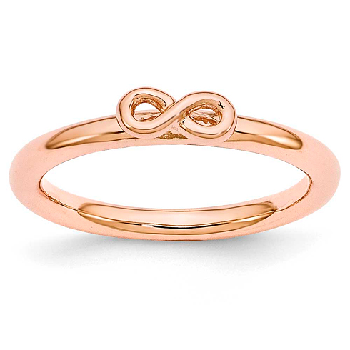 Sterling Silver Stackable Pink-plated Infinity Symbol Ring