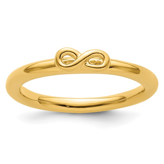 Sterling Silver Stackable Yellow-plated Infinity Symbol Ring
