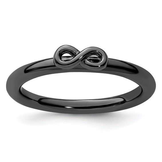 Sterling Silver Stackable Black-plated Infinity Symbol Ring