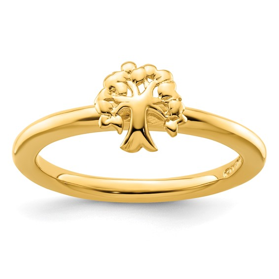Sterling Silver Stackable Expressions Yellow-plated Tree Ring