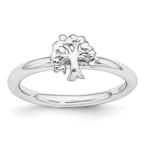 Sterling Silver Stackable Expressions Tree Ring