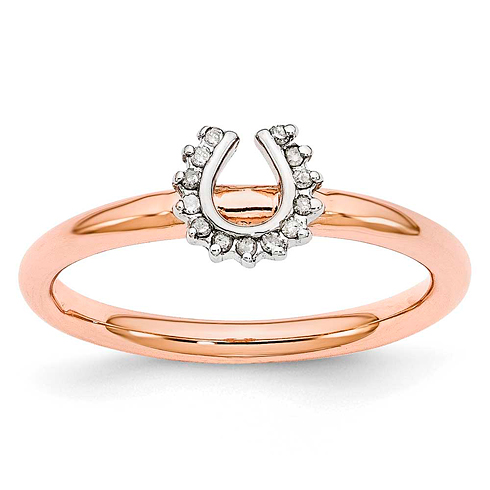Sterling Silver Stackable Pink-plated Diamond Horseshoe Ring