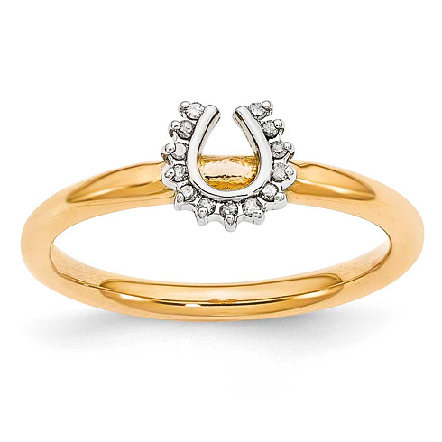 Sterling Silver Stackable Yellow-plated Diamond Horseshoe Ring