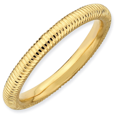 Sterling Silver Stackable Expressions 2.25mm 18kt Yellow Gold-plated Textured Ring