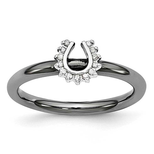 Sterling Silver Stackable Black-plated Diamond Horseshoe Ring