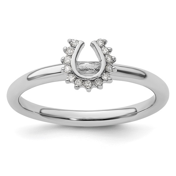 Sterling Silver Stackable Expressions Diamond Horseshoe Ring