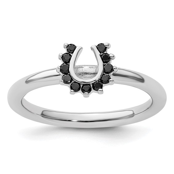 Sterling Silver Stackable Expressions Black Diamond Horseshoe Ring