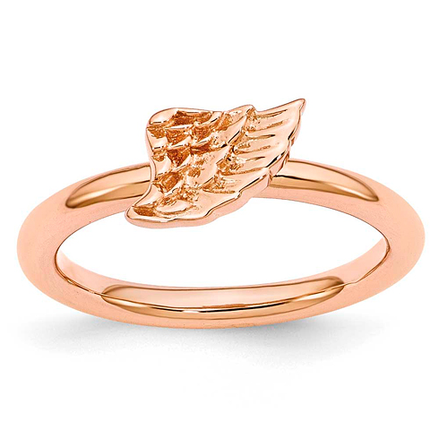Sterling Silver Stackable Expressions Pink-plated Angel Wing Ring
