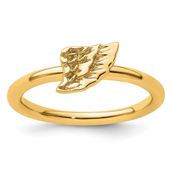 Sterling Silver Stackable Expressions Yellow-plated Angel Wing Ring