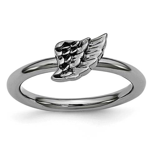 Sterling Silver Stackable Expressions Black-plated Angel Wing Ring