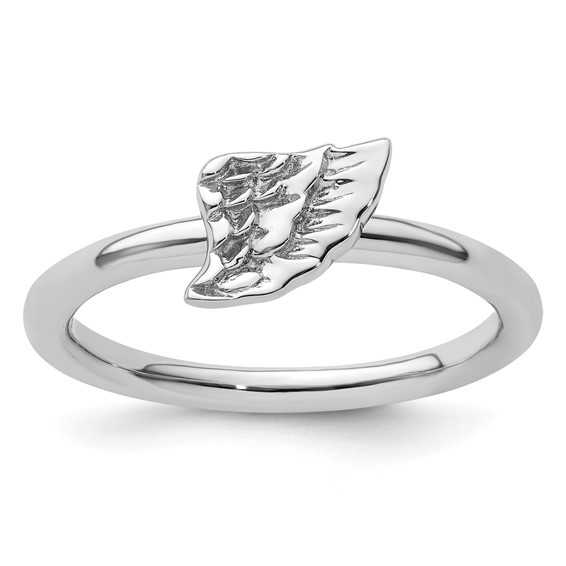 Sterling Silver Stackable Expressions Angel Wing Ring