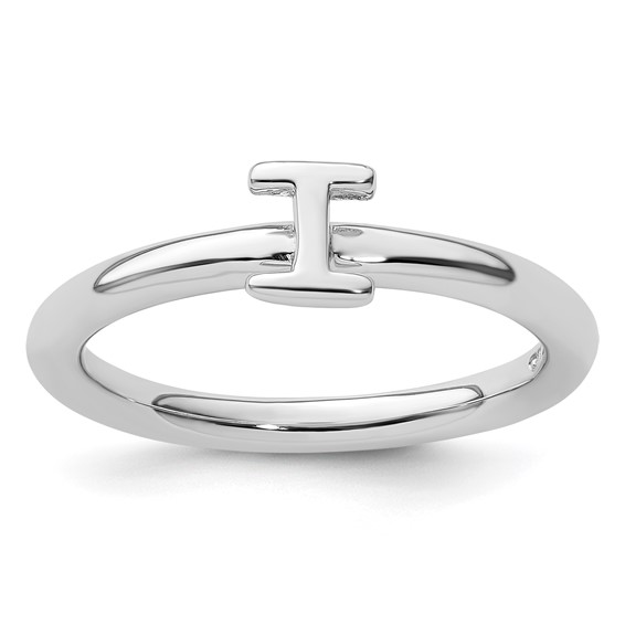 Sterling Silver Stackable Expressions Rhodium Letter I Ring