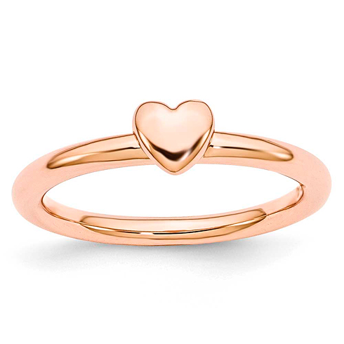 Sterling Silver Stackable Expressions Pink-plated Puffed Heart Ring