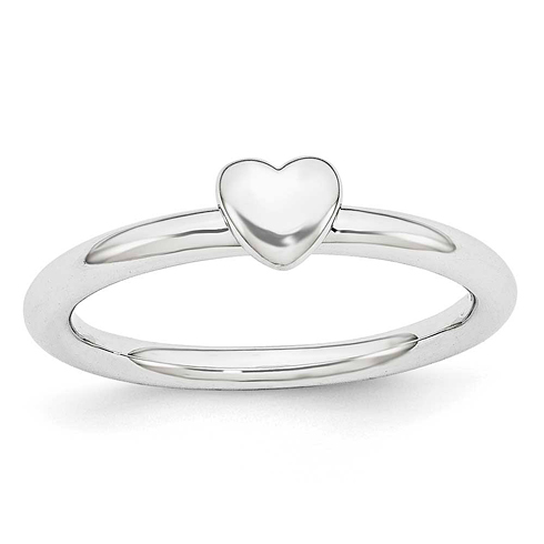 Sterling Silver Stackable Expressions Puffed Heart Ring