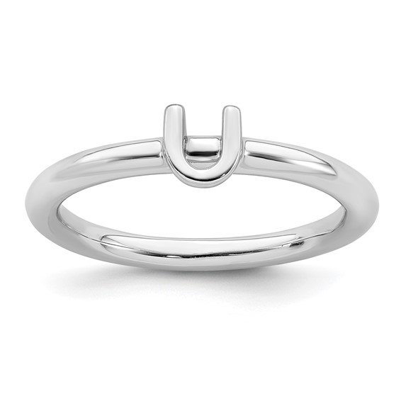 Sterling Silver Stackable Expressions Rhodium Letter U Ring