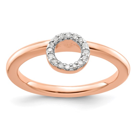 Sterling Silver Stackable Expressions Pink-plated Halo Diamond Ring
