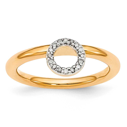 Sterling Silver Stackable Expressions Yellow-plated Halo Diamond Ring