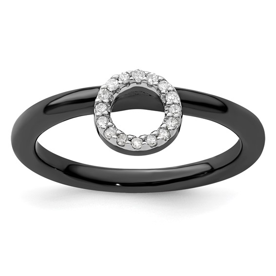 Sterling Silver Stackable Expressions Black-plated Halo Diamond Ring