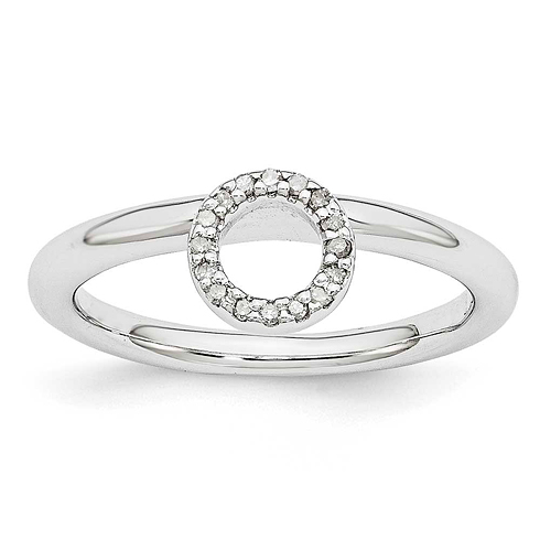 Sterling Silver Stackable Expressions Halo Diamond Ring