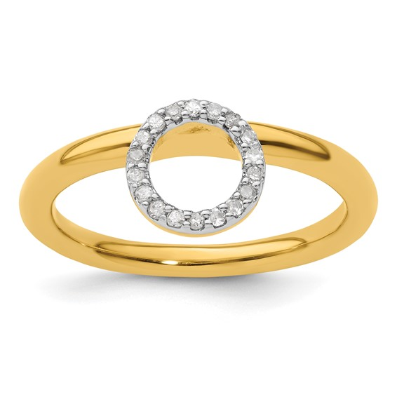 Sterling Silver Stackable Yellow-plated Large Halo Diamond Ring