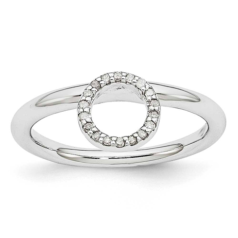 Sterling Silver Stackable Large Halo Diamond Ring