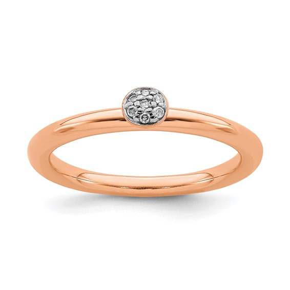 Sterling Silver Stackable Pink-plated Diamond Cluster Ring