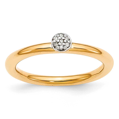Sterling Silver Stackable Yellow-plated Diamond Cluster Ring