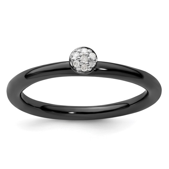 Sterling Silver Stackable Black-plated Diamond Cluster Ring