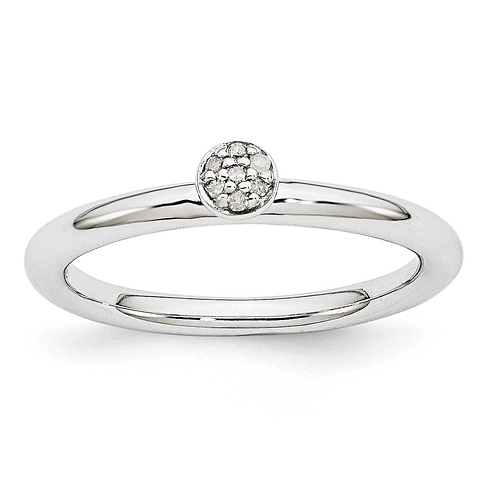 Sterling Silver Stackable Diamond Cluster Ring