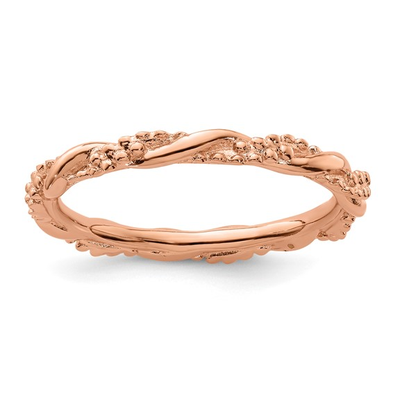 Sterling Silver Stackable Expressions Pink-plated Beaded Twist Ring