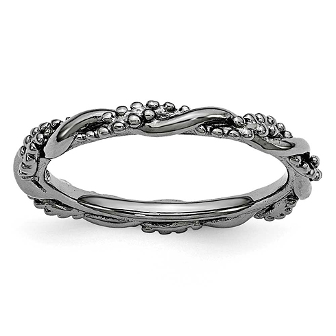 Sterling Silver Stackable Expressions Black-plated Beaded Twist Ring