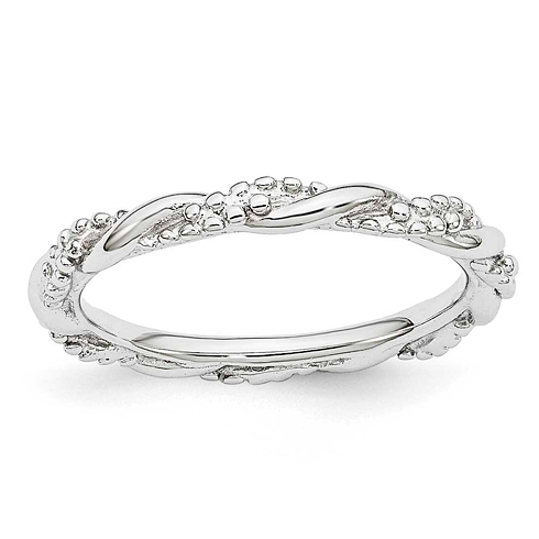 Sterling Silver Stackable Expressions Beaded Twist Ring