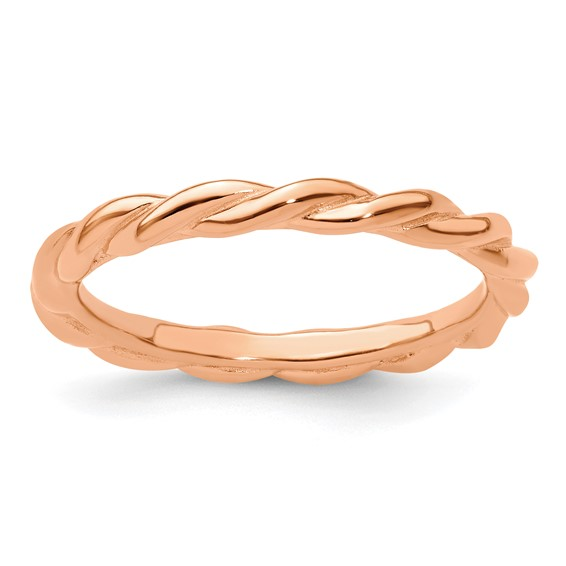 Sterling Silver Stackable Expressions Pink-plated Twist Ring