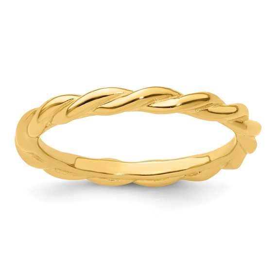 Sterling Silver Stackable Expressions Yellow-plated Twist Ring