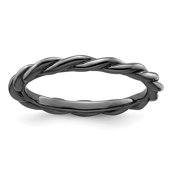 Sterling Silver Stackable Expressions 2.25mm Black-plated Twist Ring