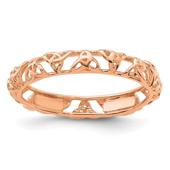 Sterling Silver Stackable Expressions Pink-plated Celtic Knot Ring